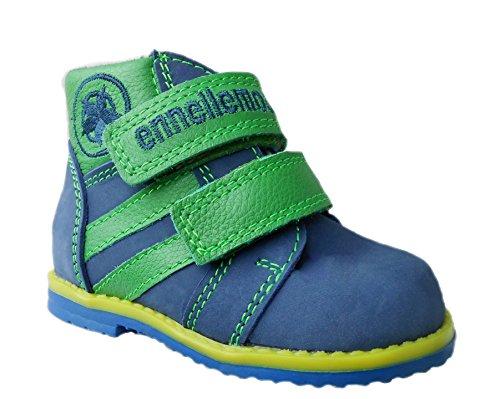 ennellemoo®-Kinder-Baby-Jungen- echt Leder-Schuhe-Lauflernschuhe-Knöchelhoch-Klettverschluss-leichte und sportive Schuhe aus Vollleder! Blau/Grün