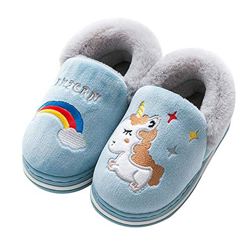 Kqpoinw Kids Cotton Indoor Slippers, Unicorn House Shoes Anti-Slip Kids Winter Slippers for Boys Girls Little Kids/Toddler