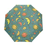 COOSUN Sun Moon And Stars Pattern Automatic 3 Folding Parasol Umbrella