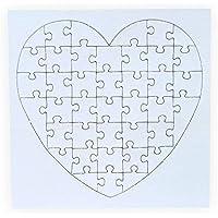 Creleo 790087 Puzzle zum bemalen Herz, 40 Teile, 10 Stück, selbst gestalten mit Rahmen