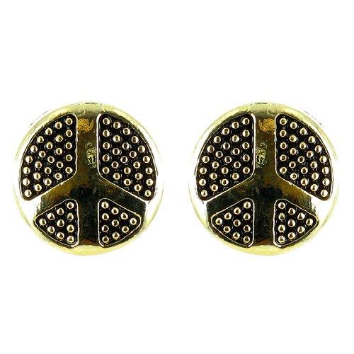 Ohrringe Friedens-Symbol vergoldet klein rund Schwarz
