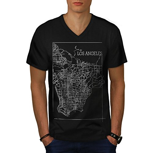 Wellcoda Los Angeles Map Fashion Mens V-Neck T-Shirt, Town Graphic Design Tee