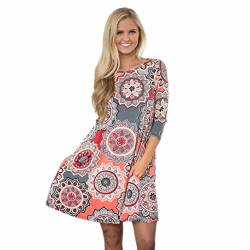 Damen Kleider Xinan Retro Nationale Wind Hals Kleid Lose Strand Tunika kleid Bluse Kleider Strandtunika Sommerkleid (M, Rosa Sexy)