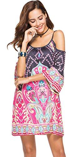 3/4-Arm 3/4-Ärmeln Schulterfrei Schulterfreies Kalte Schulter Barock Ethnisch Stammes Afrikanische Aztekisch Mini Minikleid Hängerkleid Trapez Mutterschaft Kleid Schwarz Rosa XL
