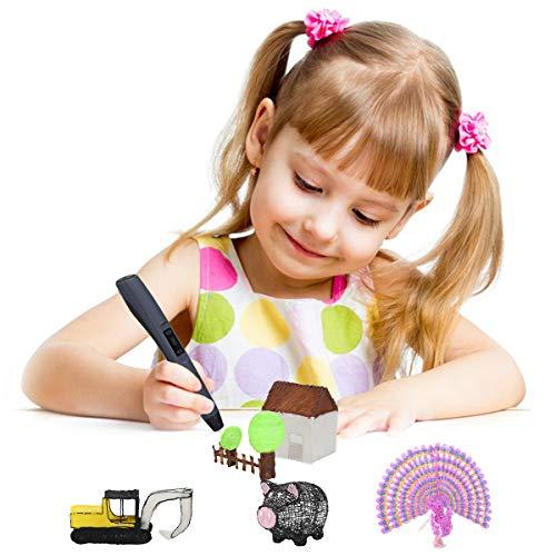 CRITIRON 3D Stift Set 3D Druckstifte Mit Stifthalter 3 Filaments Aufbewahrungskoffer Tragbare Tasche 3D Printing Pen Drawing Schwarz Für Kinder Gute Geschenke - 7