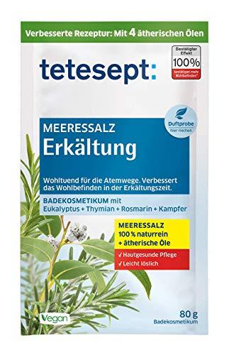 tetesept Meeressalz Badezusatz Erkältung - Badesalz mit ätherischen Ölen bei Erkältungsbeschwerden - Atemwege befreien & Wohlbefinden fördern - 10er Pack à 80 g -