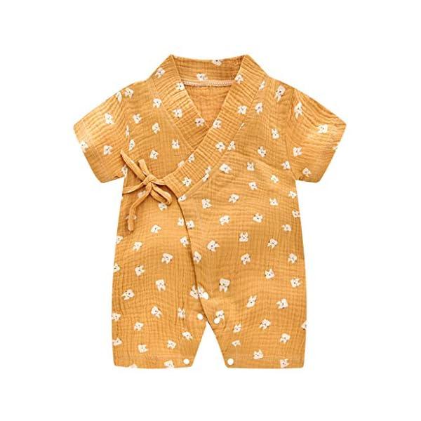 MAYOGO Bebé ReciéN Nacido Kimono Bata Estampado Bebé NiñO Manga Corta V-Cuello Verano Mono Pijama Correa Bebé niño… 5