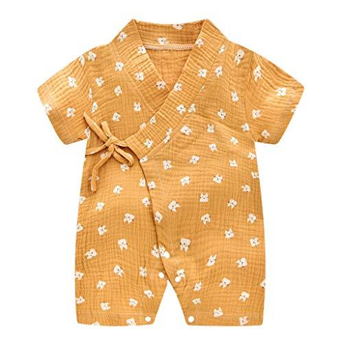 Livoral Baby Madchen Kleidung Set Neugeborene Baby Boy Girl Garn Robe Floral Kimono Strampler Overall Kleidung(Orange,73)