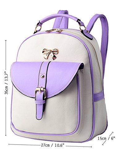 Menschwear PU Zaino Satchel Daypack sacchetto di scuola Rosa Bianco Viola Bianco