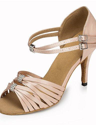 Moderne Mode Sandalen anpassbare Damen Tanzschuhe Latin/Jazz/Swing Schuhe/Salsa/Samba Satin angepasste Ferse Schwarz/Rosa/Rot Pink
