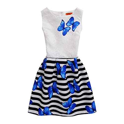 Mädchen Kleid Damen IHRKleid® Süß Tochter Mama Kein Ärmel Kleid Schmetterling Drucken Mode Self-Anbau Kleid (Mutter: S (Asien Größe), Style 1) (Schmetterling Kinder Kleid)