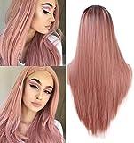 Larga naranja rosa recta peluca moda 2 tono resistente al calor sintético  Ombre pelucas para mujeres 0597657637e5