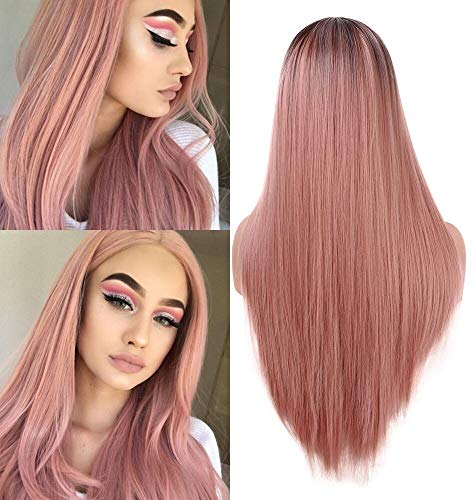 2 Perücke (Lange orange rosa gerade Perücke Mode 2 Ton hitzebeständige synthetische Ombre Perücken für Frauen 22 Zoll)