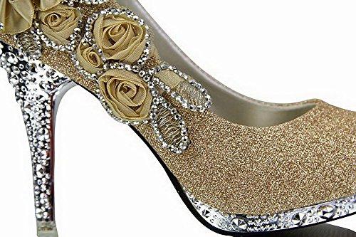 AgooLar Damen Hoher Absatz Rund Zehe Pumps Schuhe mit Blumen Schmuck Golden(FCT)