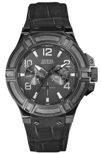 Guess Gents Rigor Black Leather Strap Watch W0040G1