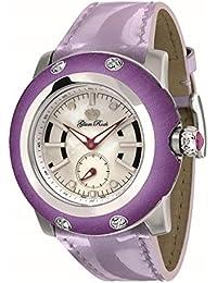 Glam Rock Damen Miami 46mm lila Leder Band Stahl Fall Swiss Quarz silberfarbenes Zifferblatt Armbanduhr gr10010N