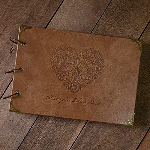 Saibang Fotoalbum mit Lederdeckeln, Retro-Look, Ringbindung mit 3 Ringen, Bastelalbum oder Gästebuch, mit Schutzfolien, selbstklebend