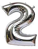 """Langxun Ballons de 40 """"Silver Foil Number pour les décorations d'anniversaire (Numéro 2)..."""