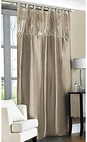Contemporary Tab Top Embroidered Sequin Faux Silk Taffeta Curtain Panel 57