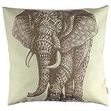 Luxbon Funda Cojín Almohada Lino Duradero Pintura de Elefante Rayasdo Decoración para Sofá Cama Coche 18x18