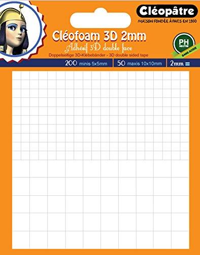 Cleopatre Cléofoam 3D - Pastillas precortadas de espuma adhesiva con doble cara, 200 mini y 50 maxi, 2 mm