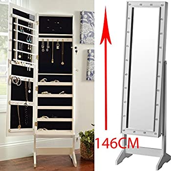 Bargains Galore Mirror With Led Light Jewellery Cabinet