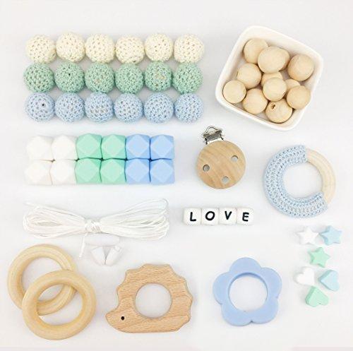 Mamimami Home DIY Baby Zahnen Spielzeug Silikon Krankenpflege Halskette Häkelnde Perlen Armband Hölzernes Igel Schnuller Clips Kautabletten -