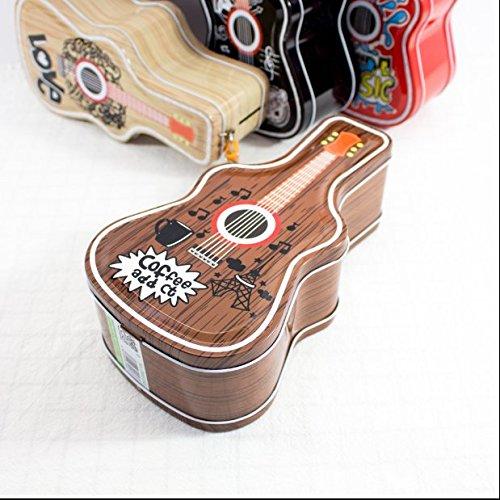 Tery Geschenk Sparschwein Hip Hop Gitarre Sparschwein Amazing Weißblech Candy Jar mit Schloss (Brown)