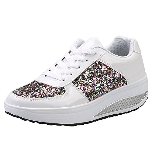 。‿。 Meilleure Vente! LuckyGirls Unisexe Hommes Femmes Athlétiques Running Sneakers Fitness Courir en Plein Air Casual Sneakers Plat Shoes PU Rubber 5CM