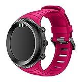 Ansenesna Sportuhr Armband Einstellen Strap Band Silikon Bracelet für Smartwatch Gps Running Runtastic Uhr Suunto Core (Pfirsich rot)