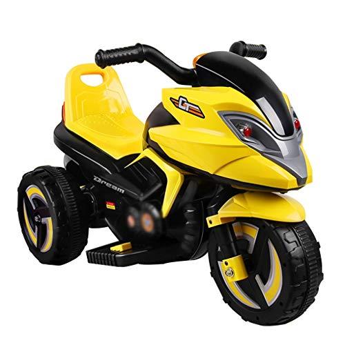 LHR888 Kinder Elektroauto Dreirad Spielzeug Batterie Auto Gelb Orange Kinderwagen Simulation Modell, Mit Heller Musik, können Sitzen 1-6 Jahre Alte Kinder (Color : Yellow)