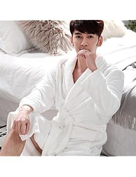 DDOQ Long-Type Franela Impresa Albornoz Pareja Albornoz Cálido Camisón Pijamas de Invierno-Blanco (Color : White...