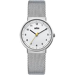 Braun BN0031WHSLMHL - Reloj analógico de mujer de cuarzo con correa de acero inoxidable plateada