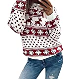 VJGOAL Mujeres Moda Casual Navidad Floral Navidad Alces Imprimir Manga Larga Blusa Top Sweatshirt Pullover(S,Rojo)