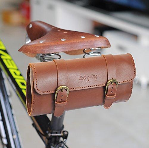 Vintage Road City Bike PU Big Bag Sattel hinten oder Lenker 22 * 10 * 6,5 cm, braun (Bag Bike Road)