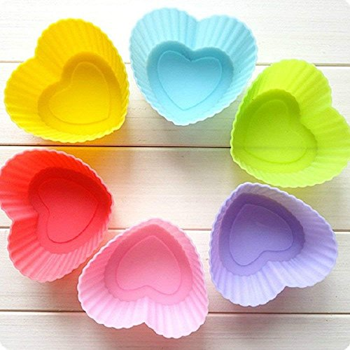 Aofocy 6 Stücke 7 cm Zufällige Farbe Herzform Silikon Muffinförmchen Cupcake Liner Bake Mould Form