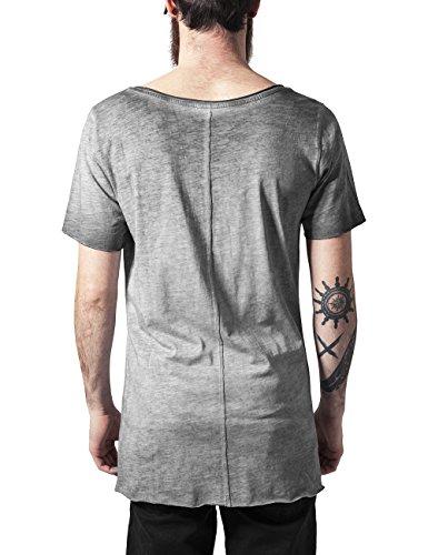 Urban Classics TB1232 Herren T-Shirt Asymetric Long Spray Dye Tee Grau (darkgrey 94)