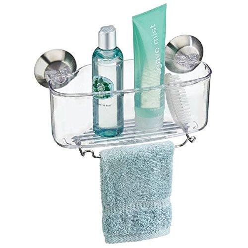 mDesign Eckduschkorb - praktisches Duschregal - ohne Bohren zu montieren - Duschkorb aus Edelstahl mit Saugnäpfen - perfekt für Shampoo, Waschlappen, Rasierer & Co.