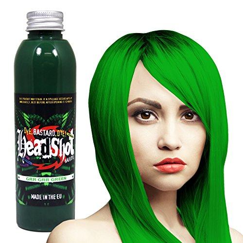 Grüne Haarfarbe Headshot Grr Grr Green, Semi-permanente Haartönung 150 ml (Grün Haar-farbe Permanente)