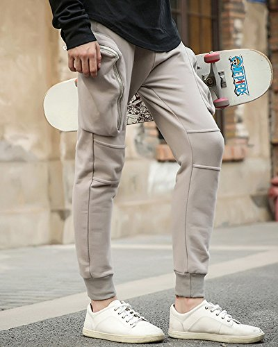 Uomo Grande Tasca Jogger Pantaloni Tinta Unita Stretch Slim Fit Sport Casuale Jogging Harem Pantalone Grigio