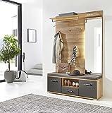 lifestyle4living Garderobe, Set, Garderobenschrank, Flurgarderobe, Garderobenmöbel, Dielenmöbel, Flurmöbel, Wandgerderobe, beige, braun, Eiche, Graphit, grau, Licht