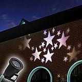 GAXmi LED Landschaft Scheinwerfer Fee Sterne Muster Garten Mauer Weihnachten Hochzeit Draussen Wasserdicht projektiert Beleuchtung Spotbeleuchtung (Weiß)