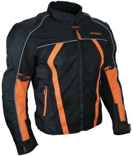 Sommer Motorradjacke Airmesh Motorrad Jacke Schwarz Orange Gr. XL