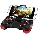 BEBONCOOL Manette de jeu Bluetooth Sans fil avec Support pour Smartphone Android /Tablette/TV Box/Samsung Gear VR/Emulateur(noir et rouge)