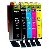 Supply Guy 5 XXL bläckpatroner met chip kompatibla med Canon PGI-580 CLI-581 för Pixma TR7500 TR7550 TR8550 TS6100 TS6150 TS6151 TS6250 TS6251 TS6350 TS6351 TS705 TS9540 TS9541c TS9550 TS9551c