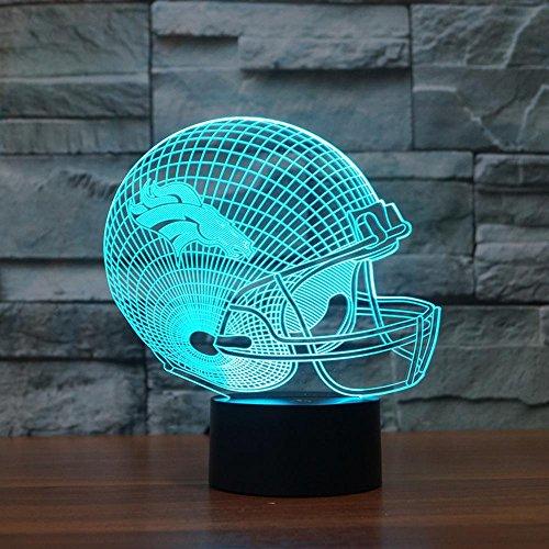 Lozse 3D Nightlights, Rugby Kappe Denver Broncos 3D-Licht bunte Touch-LED-Lampe Geschenk, bestes Geschenk für Freunde Kinder
