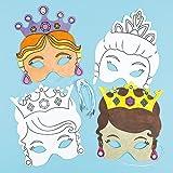 Masken zum Basteln und Ausmalen - Prinzessin - für Kinder ideal zum Kindergeburtstag und Karneval (6 Stück)