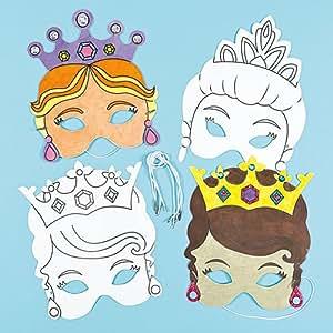 Masken zum Basteln und Ausmalen - Prinzessin - für Kinder
