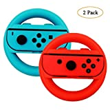 Volant pour Manette Nintendo Switch, Leegoal 2 Pack Joy-con Poignées De Roue Pour Nintendo Switch, Bleu Et Rouge