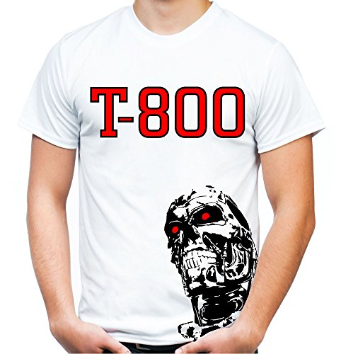 Terminator Männer und Herren T-Shirt | Cyborg Schwarzenegger Kult Geschenk | M2 (XL, Weiß)
